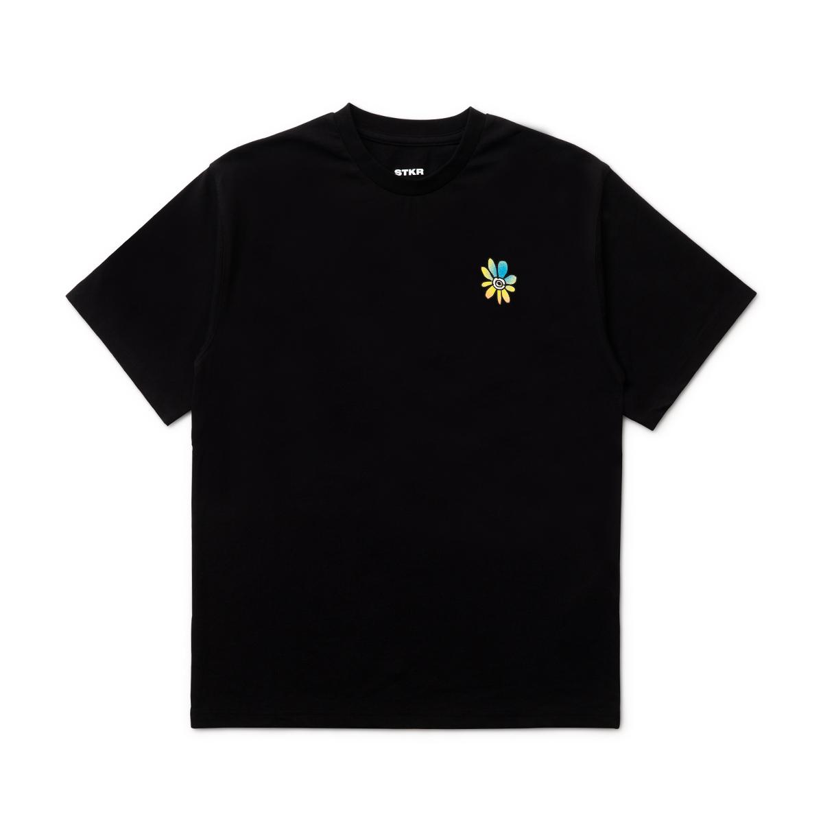 フラワー半袖Tシャツ (ブラック) BT21